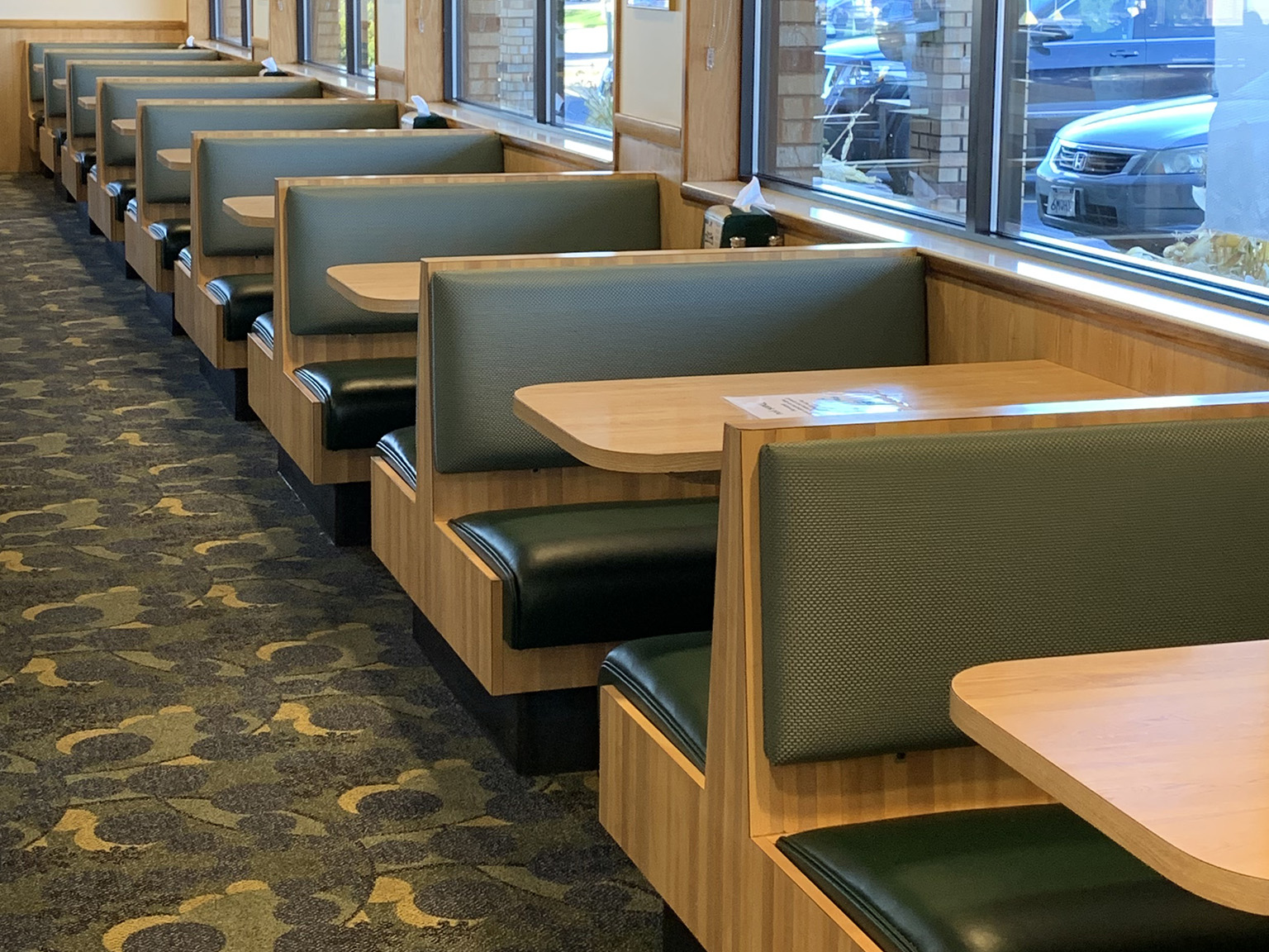 Row of restaurant booths